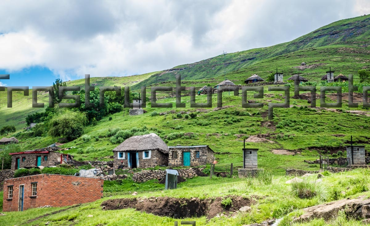 Rural Lesotho homestead