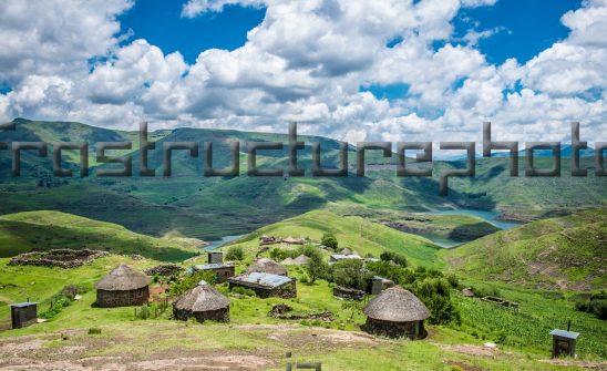 Rural Lesotho homesteads