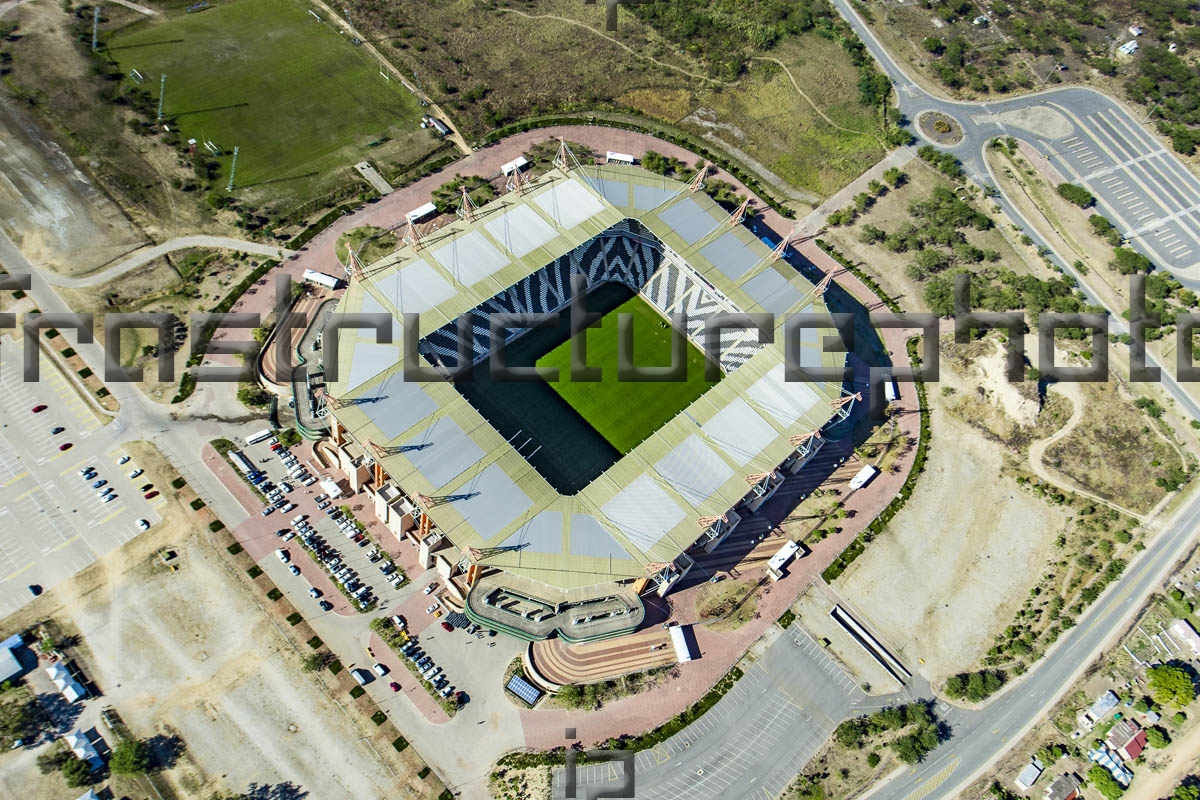 The Mbombela Football Stadium is a 41 000 seat stadium and was one of the ten venues for the FIFA World Cup 2010 in Mbombela, South Africa. The stadium is the centrepiece of a proposed wider sports precinct with athletics and cricket as well as other sporting codes. The stadium cost R1,050-million to build and was completed in 2010.