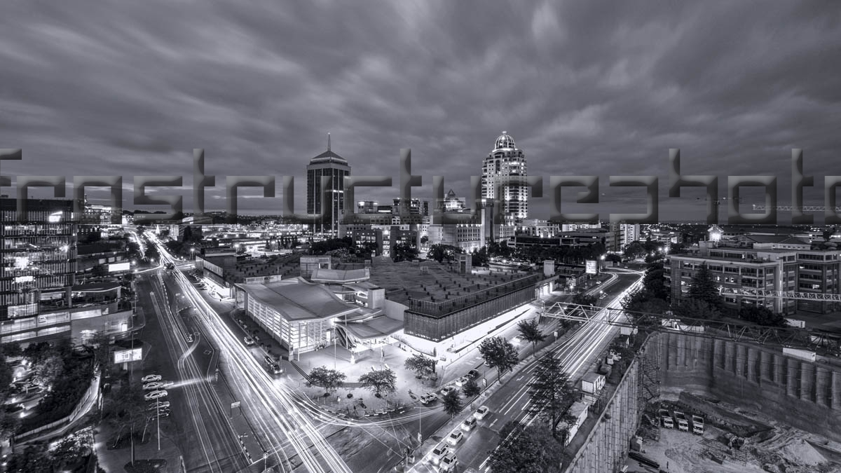 Sandton City at Night Black and white