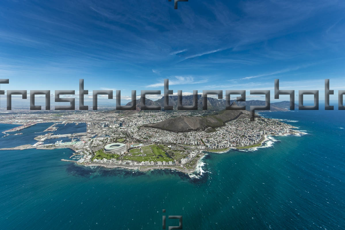 An aerial view of the the City Of Cape Town